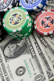 Free Dollars,cards And Poker Chips Stock Images - 17456794