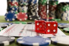 Free Dollars,cards And Poker Chips Royalty Free Stock Photos - 17458228