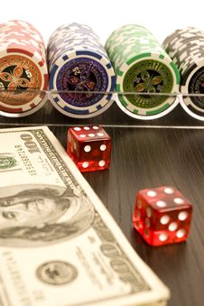 Free Dollars,cards And Poker Chips Stock Photography - 17458242