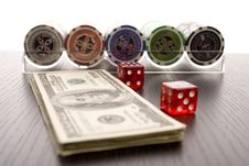 Free Dollars,cards And Poker Chips Stock Photography - 17458262