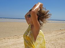 Free The Young Girl On A Beach Royalty Free Stock Image - 17458286