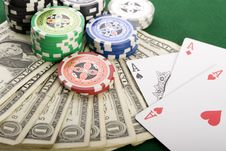 Free Dollars,cards And Poker Chips Stock Photo - 17458770