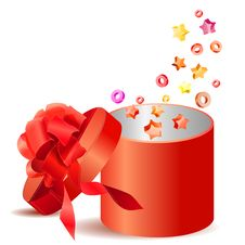 Free Open Gift Box With Red Bow Stock Photo - 17459000
