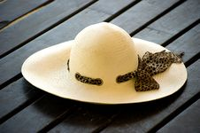 Free Women S Sun Hat On The Wooden Decking Stock Photos - 17459043