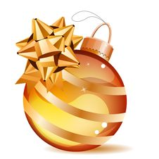 Free Christmas Gold Ball Isolated Stock Image - 17459051