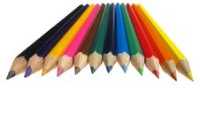Free Colourful Crayons In The Row Royalty Free Stock Photos - 17459398