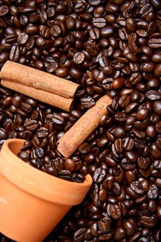 Free Clay Bowl With Coffee Beans And Cinnamon Stock Photo - 17459450
