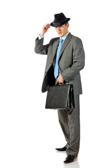 Free Young Businessman In Hat With Briefcase In Hand Royalty Free Stock Photos - 17459798