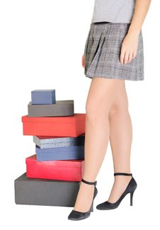 Free Woman Legs And Boxes For Moving Royalty Free Stock Images - 17460019