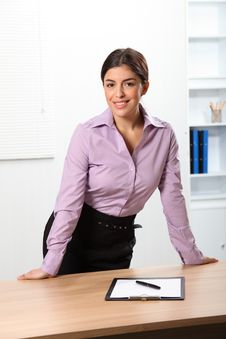 Free Beautiful Smiling Business Woman Standing Behind O Royalty Free Stock Photo - 17461055