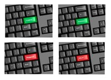 Free Four Pieces Of Keyboard With Highlighted Keys. Royalty Free Stock Images - 17461389