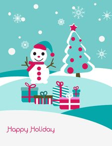 Free Christmas Card With Snowman And Fir Stock Photos - 17461543