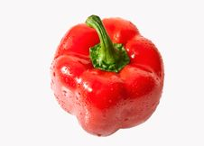 Fresh Red Bell Pepper Isolated On White Background