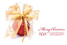 Free Red Christmas Balls And Gold Bow Ribbon Stock Image - 17461931