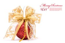 Free Red Christmas Balls And Gold Bow Ribbon Stock Photo - 17461990