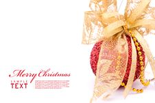 Free Red Christmas Balls And Gold Bow Ribbon Royalty Free Stock Photos - 17462008