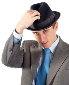 Free Portrait Of Young Businessman In Hat Royalty Free Stock Photography - 17463457