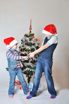 Free Kids Fight On Christmas Stock Photo - 17463900