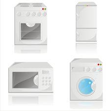 Housework Electronics Icons Stock Photography