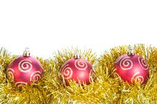 Three Red Christmas Ball And Gold Decoration, Isol Royalty Free Stock Photos