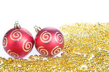 Two Red Christmas Ball And Gold Decoration, Isolat Stock Photography