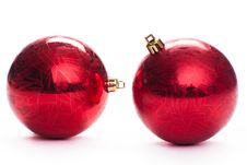Free Two Red Christmas Ball, Isolated Royalty Free Stock Photo - 17465315