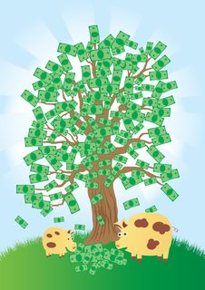 Free Money Tree That Grows Gold Coins Stock Images - 17465454