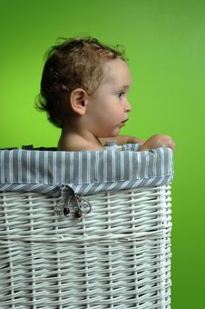 Free Baby Sitting In A Basket Stock Image - 17465521
