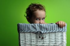 Free Baby Sitting In A Basket Stock Photos - 17465533