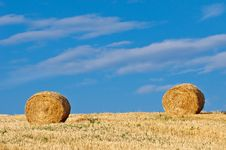 Free Golden Hay Bales In Field Royalty Free Stock Image - 17466236
