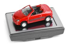Free GPS Navigator And Toy Car Royalty Free Stock Image - 17466556