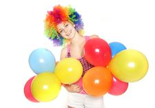Free Happy Young Woman With Balloons Royalty Free Stock Photography - 17466907