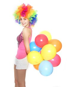 Free Happy Young Woman With Balloons Royalty Free Stock Photos - 17466918