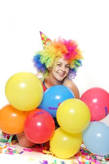 Free Happy Young Woman With Balloons Royalty Free Stock Photos - 17466928