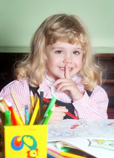 Free Cute Little Girl Painting Stock Photo - 17467050