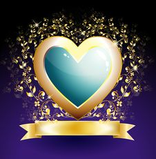Free Golden Heart Royalty Free Stock Image - 17467656