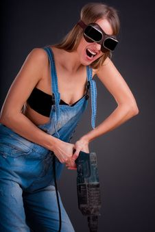 Free Girl With A Drill Stock Image - 17468331