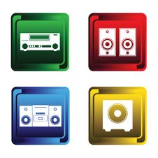 Four Musical Buttons Stock Images