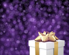 Free White Gift With Gold Bow Stock Images - 17469754