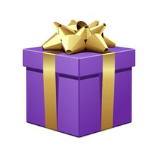 Free Violet Gift With Gold Bow Royalty Free Stock Photos - 17469818