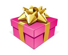 Free Pink Gift With Gold Bo Royalty Free Stock Image - 17469846