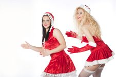 Free Two Sexy Santa Girls Having Fun Royalty Free Stock Images - 17469849