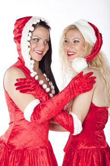 Free Two Sexy Santa Girls Having Fun Stock Photography - 17469862