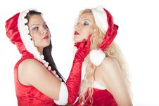 Free Two Sexy Santa Girls Having Fun Stock Photography - 17469872