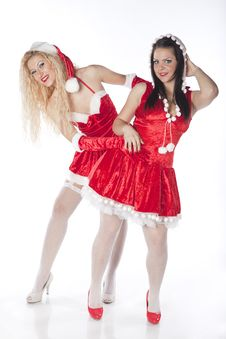 Free Two Sexy Santa Girls Having Fun Stock Images - 17469874