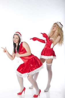 Free Two Sexy Santa Girls Having Fun Royalty Free Stock Photography - 17469877