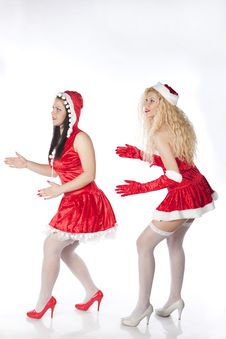 Free Two Sexy Santa Girls Having Fun Royalty Free Stock Images - 17469879