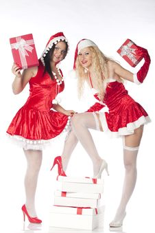 Free Two Sexy Santa Girls Having Fun Stock Photo - 17469880