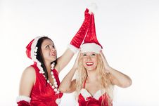Free Two Sexy Santa Girls Having Fun Royalty Free Stock Photography - 17469887