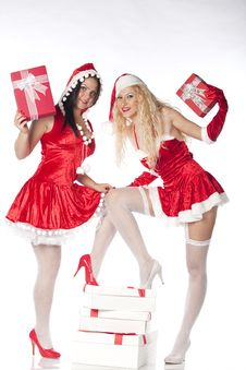 Free Two Sexy Santa Girls Having Fun Stock Image - 17469901